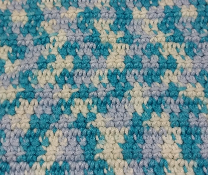 Close up of linked double crochet stitch
